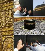 stock photo of mekah  - Composition on Hajj and visiting Kaaba in Mecca - JPG