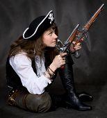stock photo of crossed pistols  - Girl  - JPG