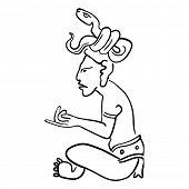 Постер, плакат: Векторное изображение Майя древнего божества