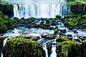 stock photo of cataracts  - Iguassu Falls the largest series of waterfalls of the world view from Brazilian side - JPG