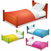 stock photo of mattress  - Illustration of a set of cartoon wood children beds for boys and girls with pillows and cover - JPG