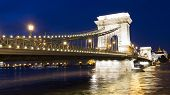 pic of hungarian  - Hungarian landmark Budapest Chain Bridge night view - JPG