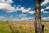 stock photo of cumulus-clouds  - barbed wire fence in Kansas pasture - JPG