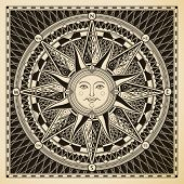 foto of wind-rose  - Classic vintage sun compass rose - JPG