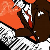 Vector illustration of a Jazz piano player