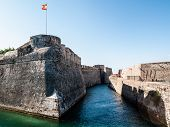 stock photo of ceuta  - a navigabile moat in the castle of Ceuta Spain - JPG