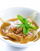 Assam or asam laksa  is a sour, fish-based soup. Traditional Malay dish, malaysian food, Asian cuisi