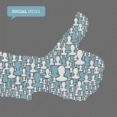 Thumb up symbol. Composed from many people silhouettes. Social media concept. Raster version, vector