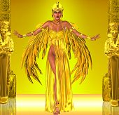 foto of nefertiti  - Adorned in a rich gold dress with golden wings - JPG