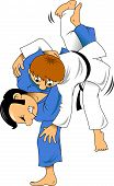 pic of judo  - Two judo wrestler in a red and white sports uniforms - JPG