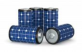 picture of solar battery  - group of batteries covered with a solar panel concept of clean energy  - JPG