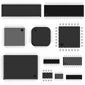 stock photo of microchips  - Set of simple vector untitled microchip  - JPG
