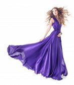 picture of white gown  - Woman in purple silk waving dress walking over isolated white background - JPG