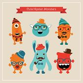 foto of freaky  - Vector Freaky Cute Retro Hipster Monsters - JPG