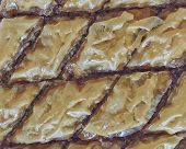 pic of phyllo dough  - delicious baklava traditional midle east desert with nuts and honey syrup - JPG