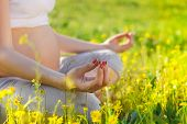 stock photo of pregnancy exercises  - Healthy pregnant woman doing yoga in nature outdoors. Close up