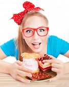 foto of pie-in-face  - Chocolate and cake sweets temptation - JPG