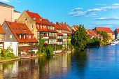 stock photo of bavaria  - Scenic summer panorama of the Old Town pier architecture in Bamberg - JPG