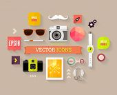 Flat Design Vector Set. Hipster Theme. Mustache, Glasses, Speech Bubbles, Tablet PC, Camera, Phone a