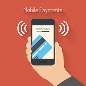 image of electronic banking  - Flat design style vector illustration of modern smartphone with the processing of mobile payments from credit card on the screen - JPG
