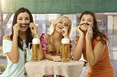 foto of moustache  - Pretty girls having fun - JPG