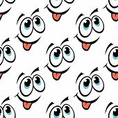 picture of googly-eyes  - Cute happy repeat seamless emoticon face pattern with large googly eyes and a smile with a protruding tongue cartoon illustration for kids - JPG