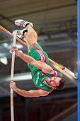 GOTHENBURG, SWEDEN - MARCH 3 Tiago Marto (Portugal) places 10th in the men's pentathlon pole vault e