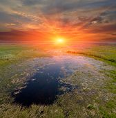 image of steppes  - sunset on small lake in steppe - JPG