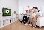 foto of enthusiastic  - Jubilant family watching television as they cheer on their home side in a sporting competition - JPG