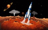 foto of meteorite  - Illustration of the planets and a spaceship at the outerspace - JPG