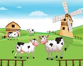foto of herbivore animal  - Illustration of the cows at the hilltop with a windmill - JPG