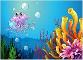 stock photo of under sea  - Illustration of an octopus and the coral reefs under the sea on a white background - JPG