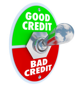 foto of levers  - Good Vs Bad Credit score rating illustrated by a lever or switch to improve your grade in borrowing money in a loan or mortgage - JPG