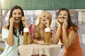 image of moustache  - Pretty girls having fun - JPG