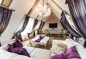 picture of attic  - Interior of fashionable living room in the attic - JPG
