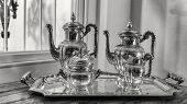 foto of teapot  - antique silver tea set with a two teapots milk jug sugar bowl and a tray - JPG