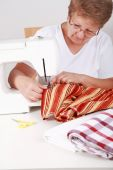 Elderly Woman Sewing
