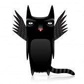 stock photo of infernos  - cute inferno cat with dark wings - JPG