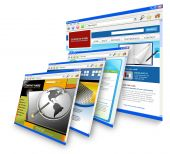 stock photo of computer-screen  - Four technology internet business websites are standing upright - JPG