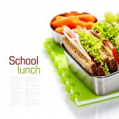 stock photo of lunch box  - School lunch with a  ham sandwich - JPG