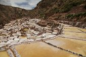 stock photo of salt mine  - View of Salt ponds Maras - JPG