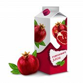 stock photo of packing  - Juice drink carton box pack 3d with pomegranate isolated on white background vector illustration - JPG