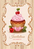 image of chocolate muffin  - Cute festive background with cherry cupcake - JPG