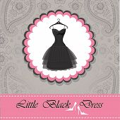 picture of little black dress  - Label with classic little black dress with hanger  - JPG