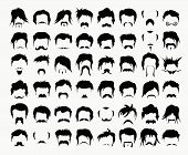 picture of goatee  - Vector set hair - JPG