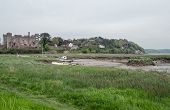 pic of marshlands  - View across the River Taff estuary at Laugharne with marshland and the town - JPG