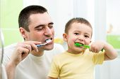 image of pretty-boy  - father and kid son brushing teeth in bathroom - JPG