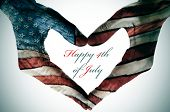 picture of state shapes  - man hands patterned with the flag of the United States forming a heart and the sentence happy 4th of july - JPG