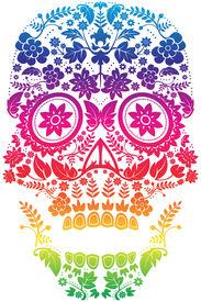 stock photo of day dead skull  - Day of the Dead Sugar Skull Design - JPG