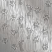 pic of paw-print  - Illustration traces of foot and paw on a metal plate as an abstract background - JPG